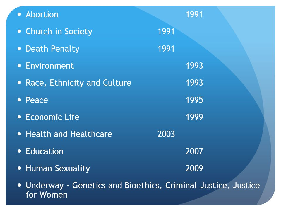 Abortion 1991 Church in Society 1991. Death Penalty 1991.