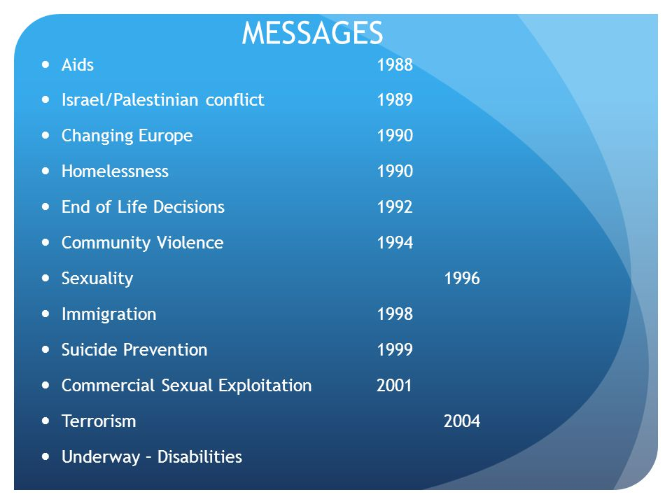 MESSAGES Aids 1988 Israel/Palestinian conflict 1989