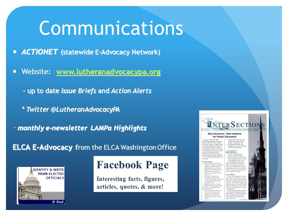 Communications Facebook Page ACTIONET (statewide E-Advocacy Network)