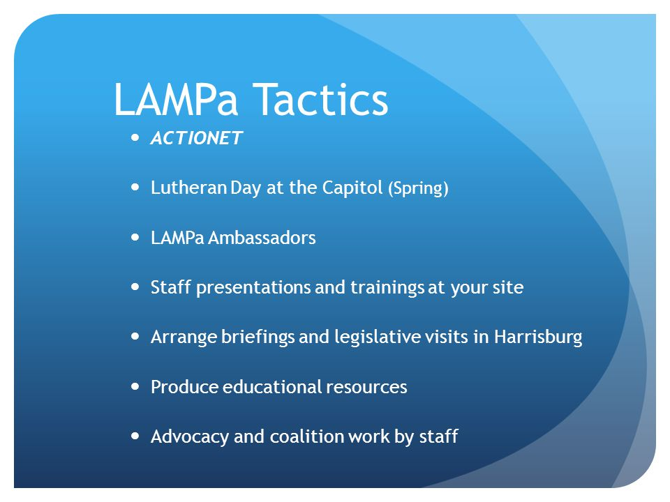 LAMPa Tactics ACTIONET Lutheran Day at the Capitol (Spring)