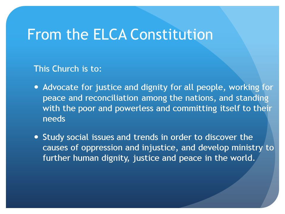 From the ELCA Constitution