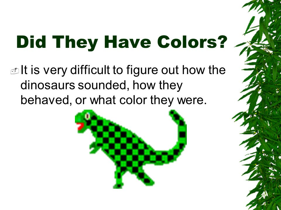 Did They Have Colors.