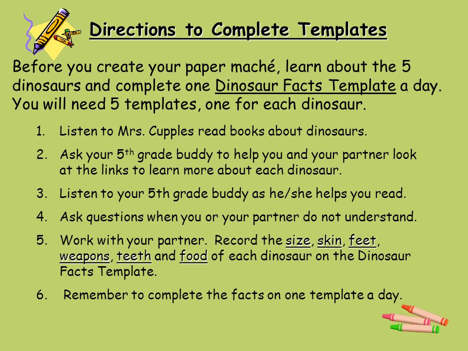 Directions to Complete Templates