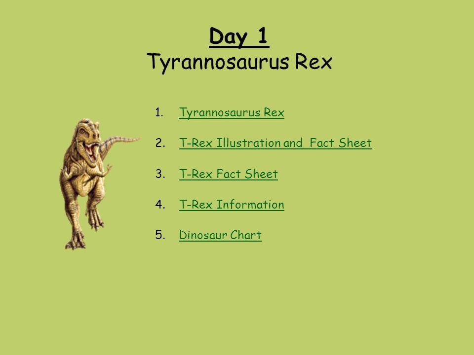 Day 1 Tyrannosaurus Rex Tyrannosaurus Rex