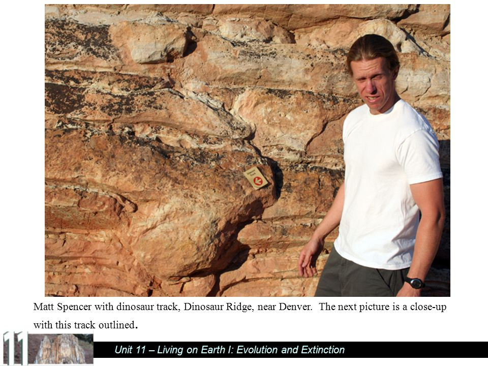 Matt Spencer with dinosaur track, Dinosaur Ridge, near Denver
