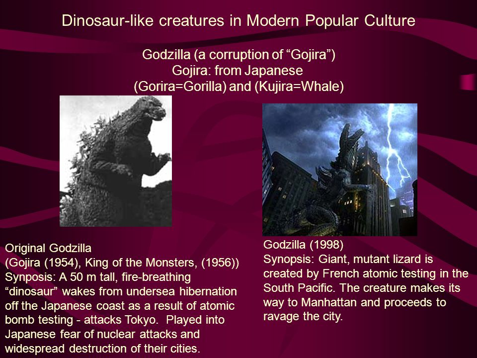 Dinosaur-like creatures in Modern Popular Culture