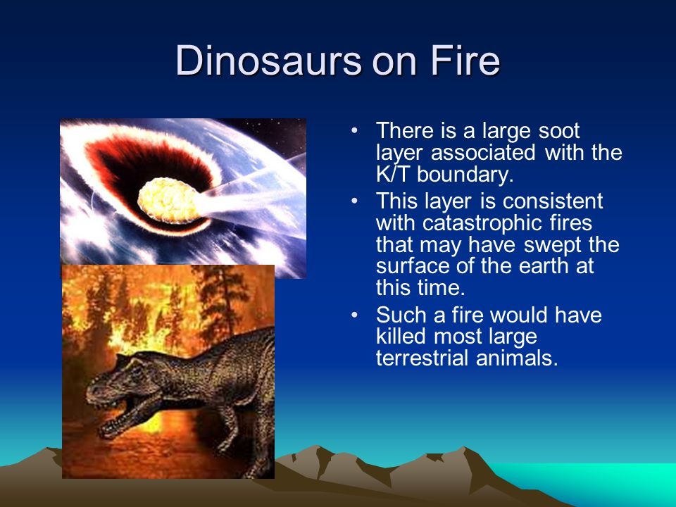 Dinosaurs on Fire There is a large soot layer associated with the K/T boundary.