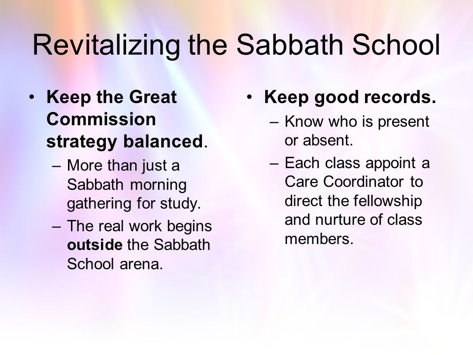 Revitalizing the Sabbath School