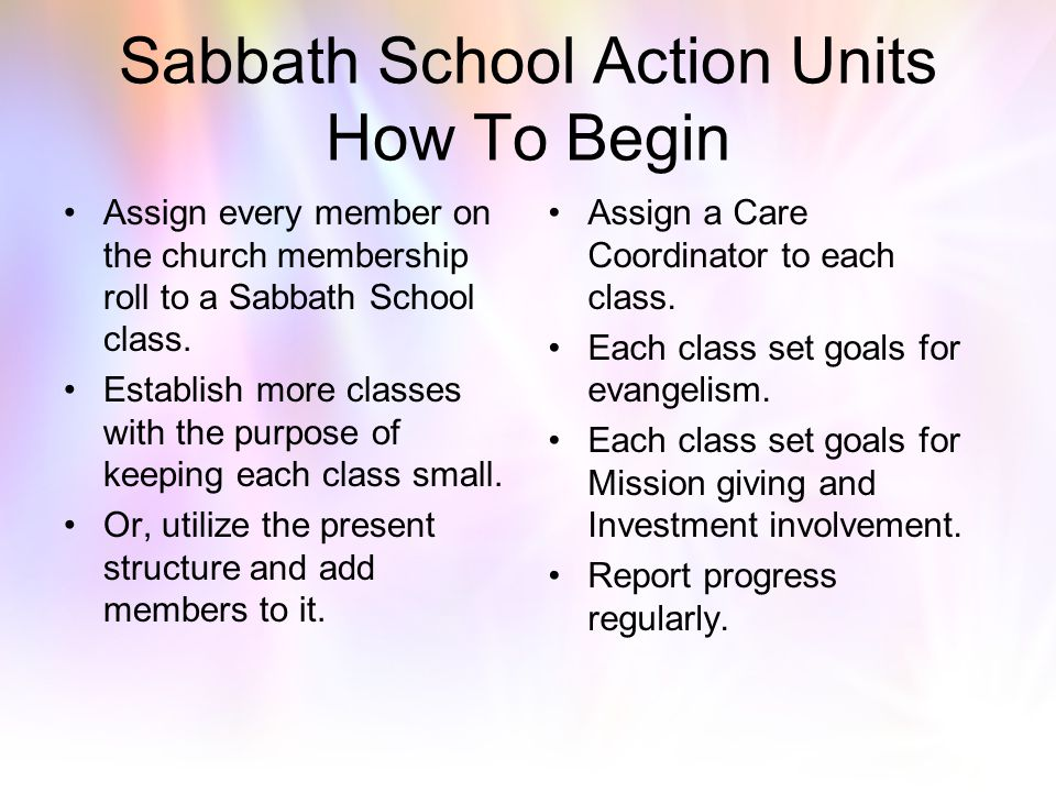 Sabbath School Action Units How To Begin
