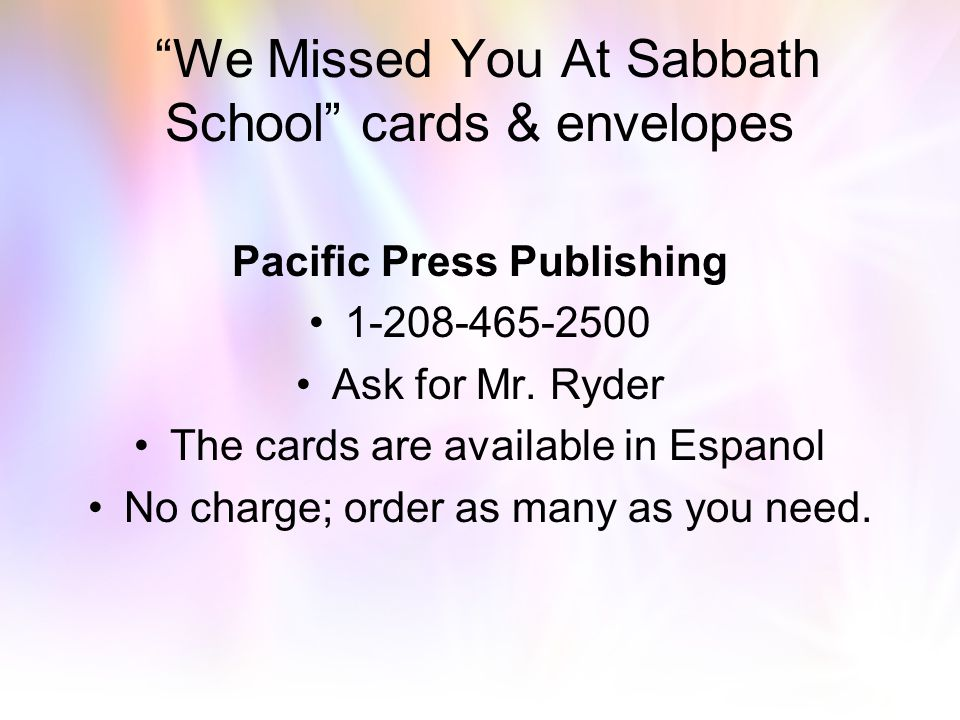 We Missed You At Sabbath School cards & envelopes