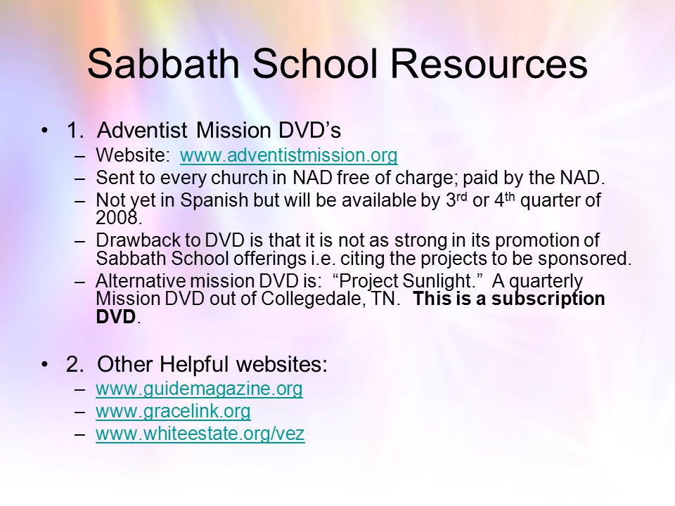 Sabbath School Resources