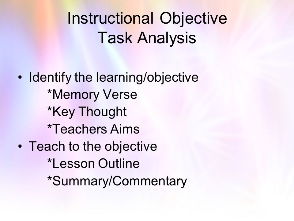 Instructional Objective Task Analysis
