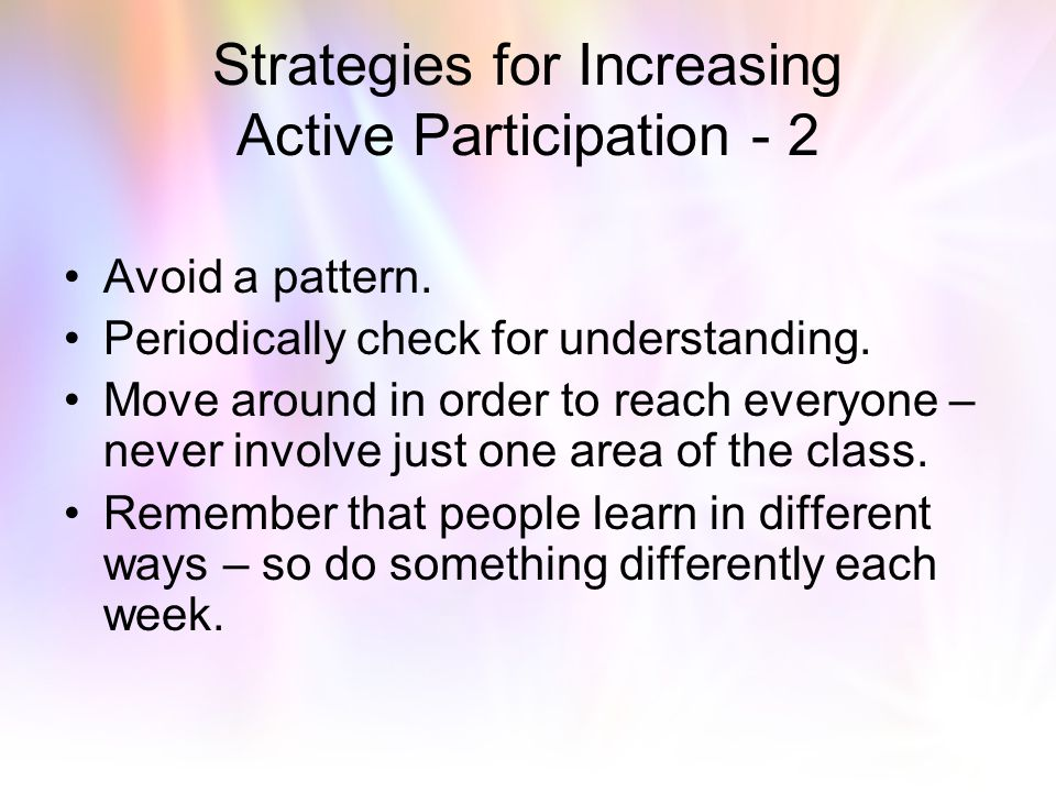 Strategies for Increasing Active Participation - 2