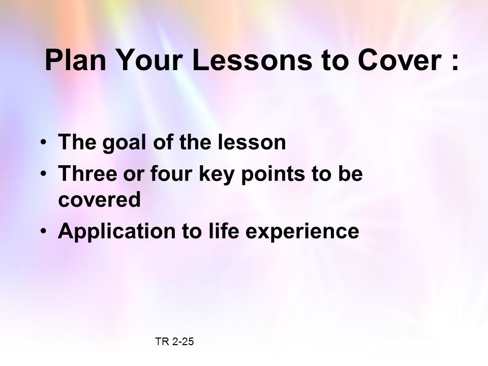 Plan Your Lessons to Cover :