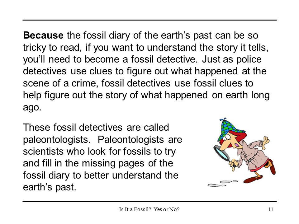 Because the fossil diary of the earth's past can be so tricky to read, if you want to understand the story it tells, you'll need to become a fossil detective. Just as police detectives use clues to figure out what happened at the scene of a crime, fossil detectives use fossil clues to help figure out the story of what happened on earth long ago.