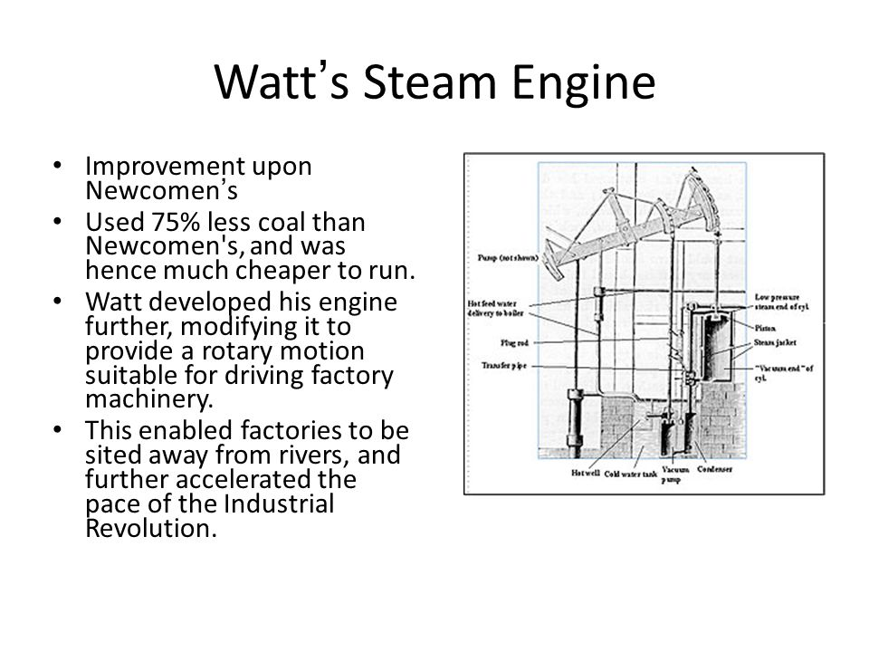 Watt's Steam Engine Improvement upon Newcomen's