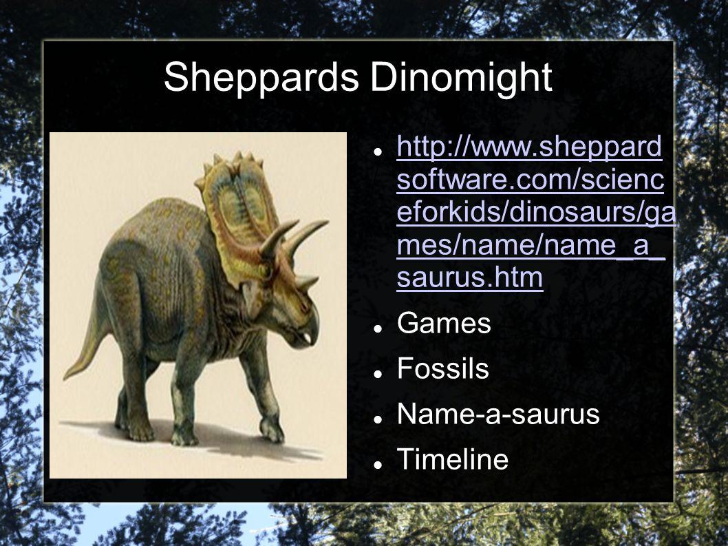 Sheppards Dinomight http://www.sheppard software.com/scienc eforkids/dinosaurs/ga mes/name/name_a_ saurus.htm.