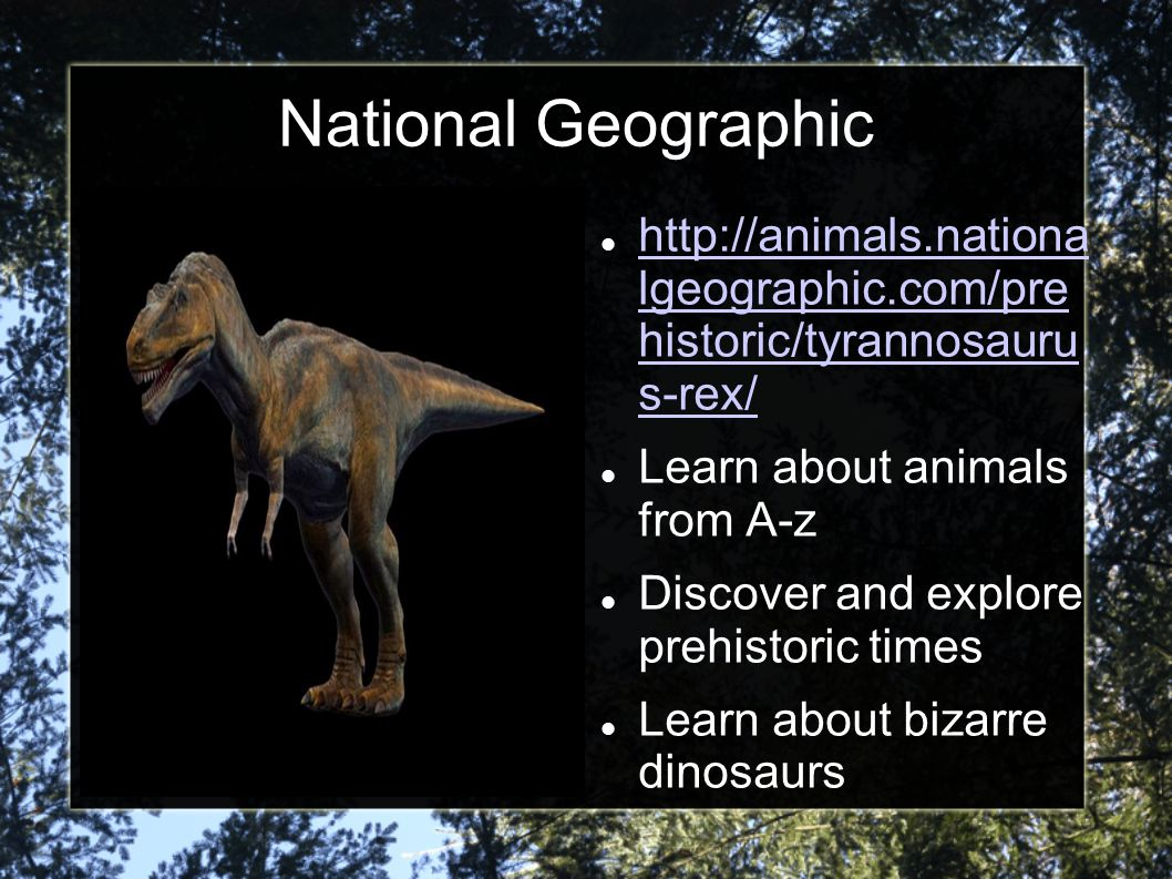 National Geographic http://animals.nationa lgeographic.com/pre historic/tyrannosauru s-rex/ Learn about animals from A-z.