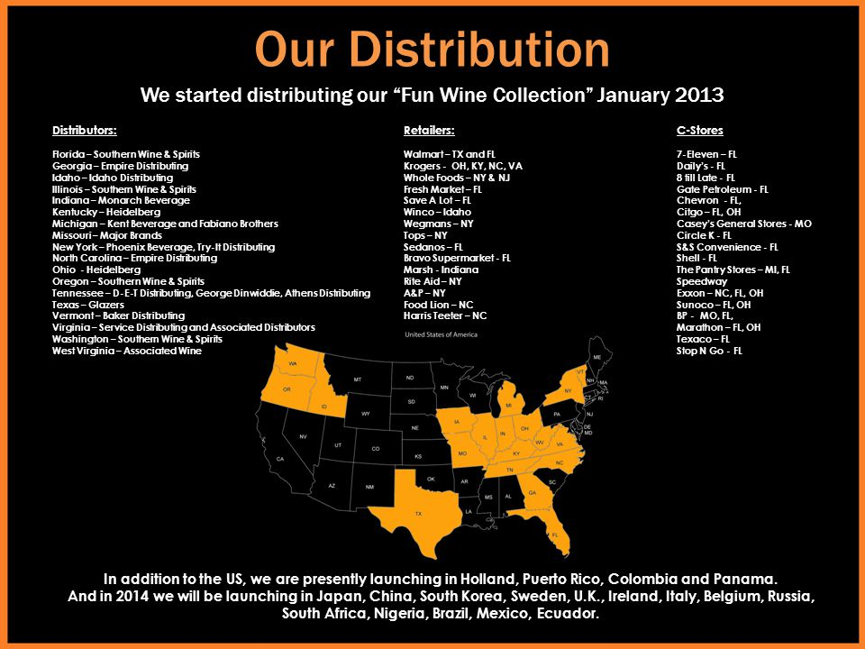 Our Distribution We started distributing our Fun Wine Collection January 2013. Distributors: Florida – Southern Wine & Spirits.