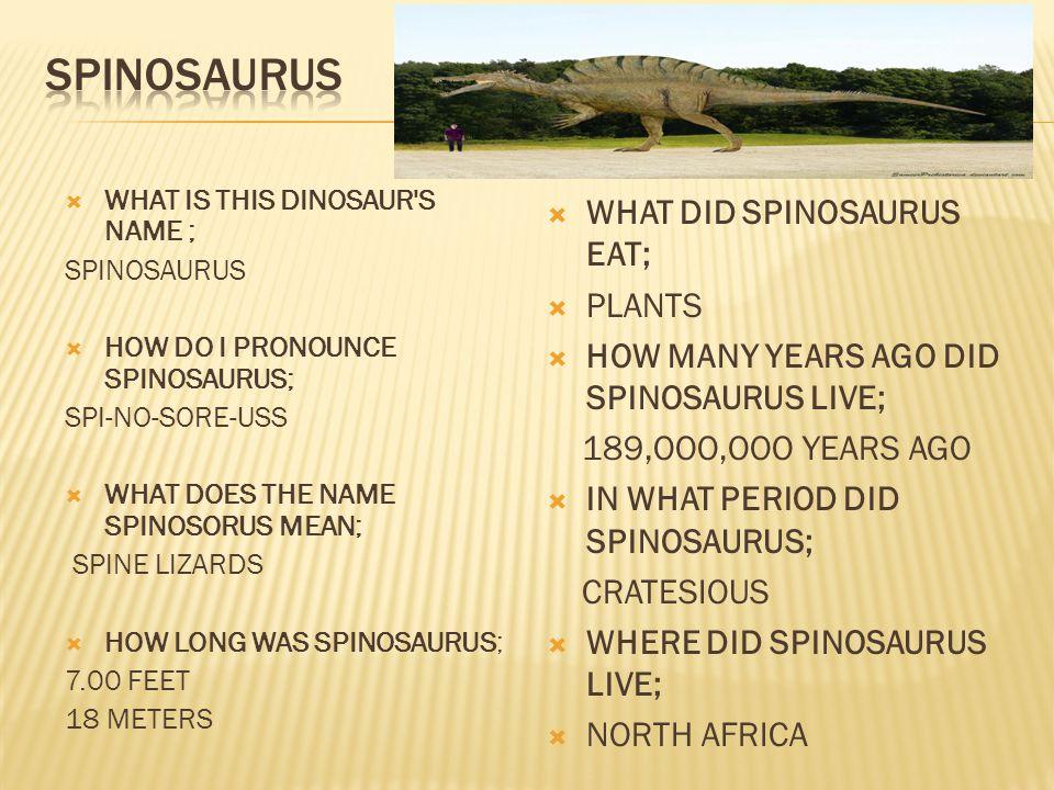 SPINOSAURUS WHAT DID SPINOSAURUS EAT; PLANTS