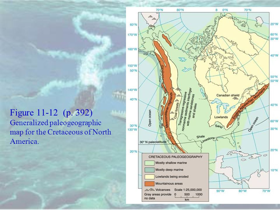 Figure 11-12 (p. 392) Generalized paleogeographic map for the Cretaceous of North America.