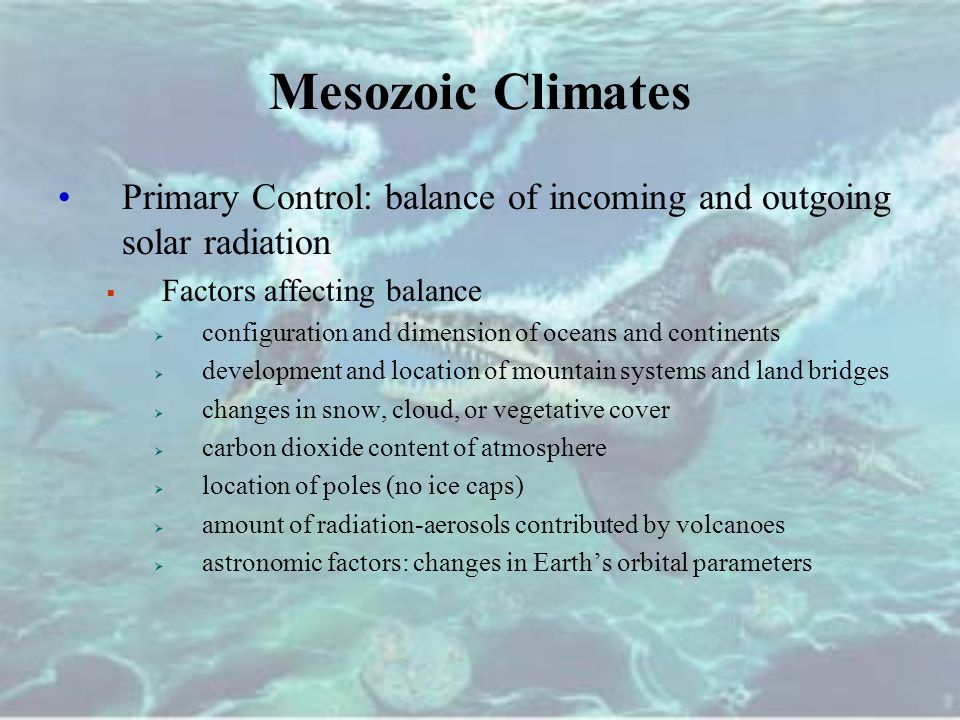 Mesozoic Climates Primary Control: balance of incoming and outgoing solar radiation. Factors affecting balance.