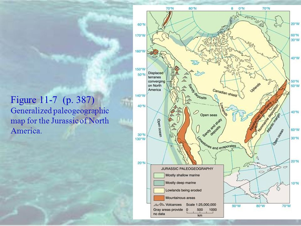 Figure 11-7 (p. 387) Generalized paleogeographic map for the Jurassic of North America.