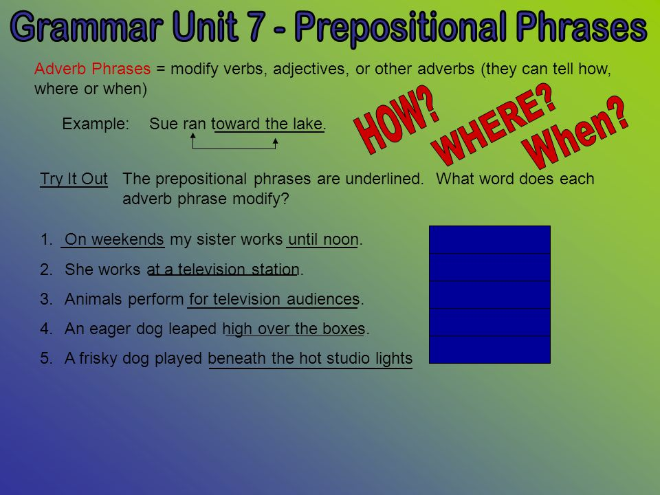 Grammar Unit 7 Prepositional Phrases Ppt Video Online