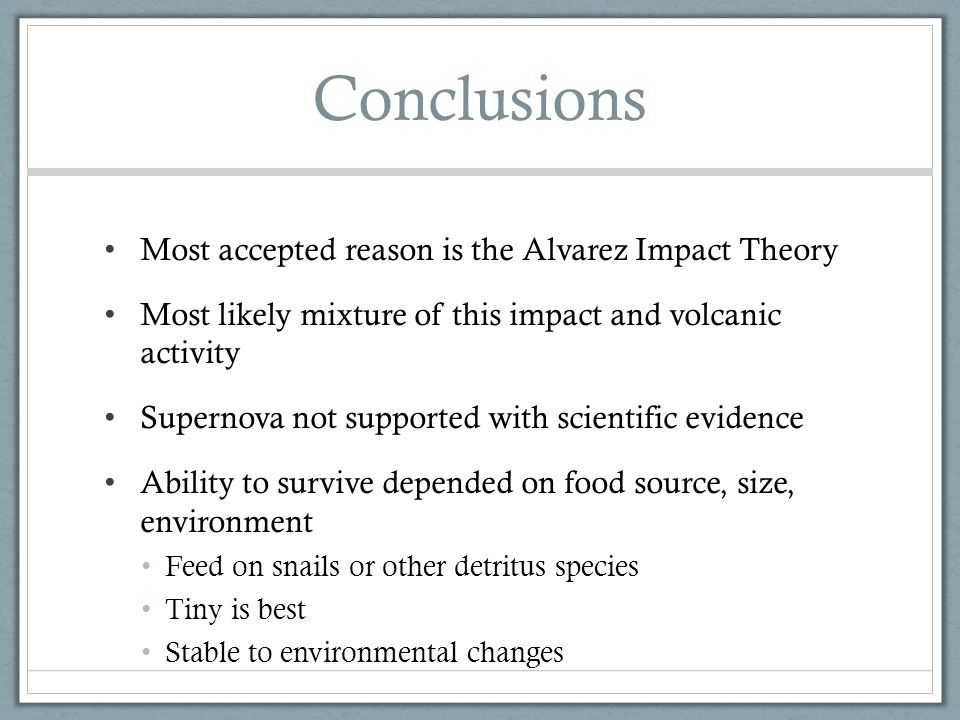 Conclusions Most accepted reason is the Alvarez Impact Theory