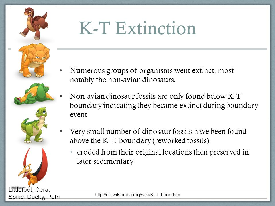 K-T Extinction Numerous groups of organisms went extinct, most notably the non-avian dinosaurs.