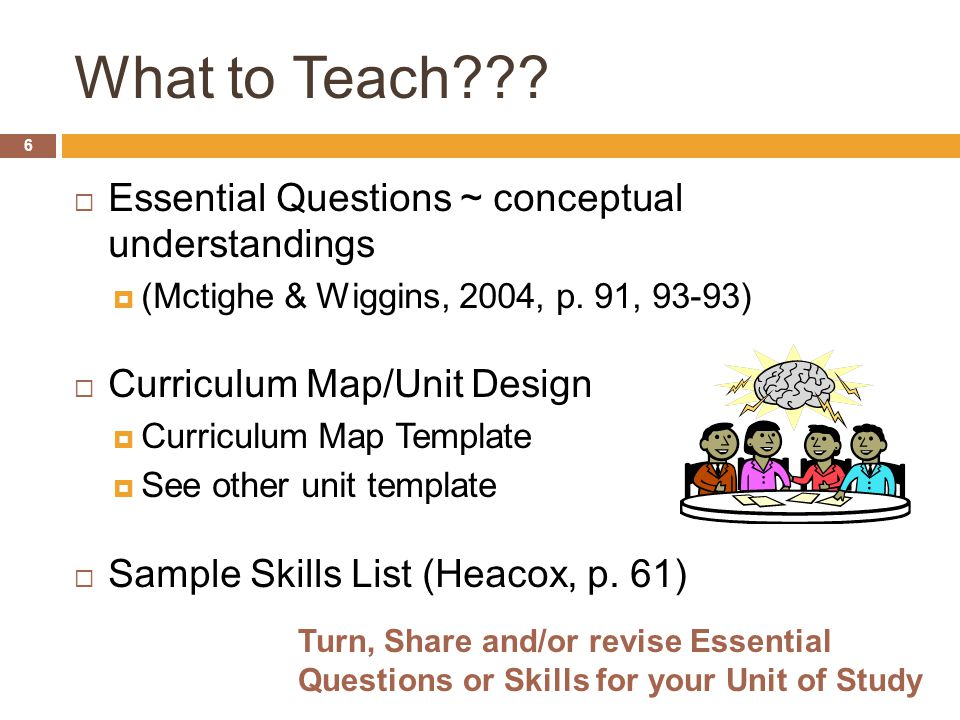 What to Teach Essential Questions ~ conceptual understandings