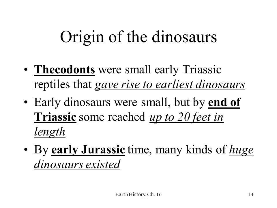 Origin of the dinosaurs