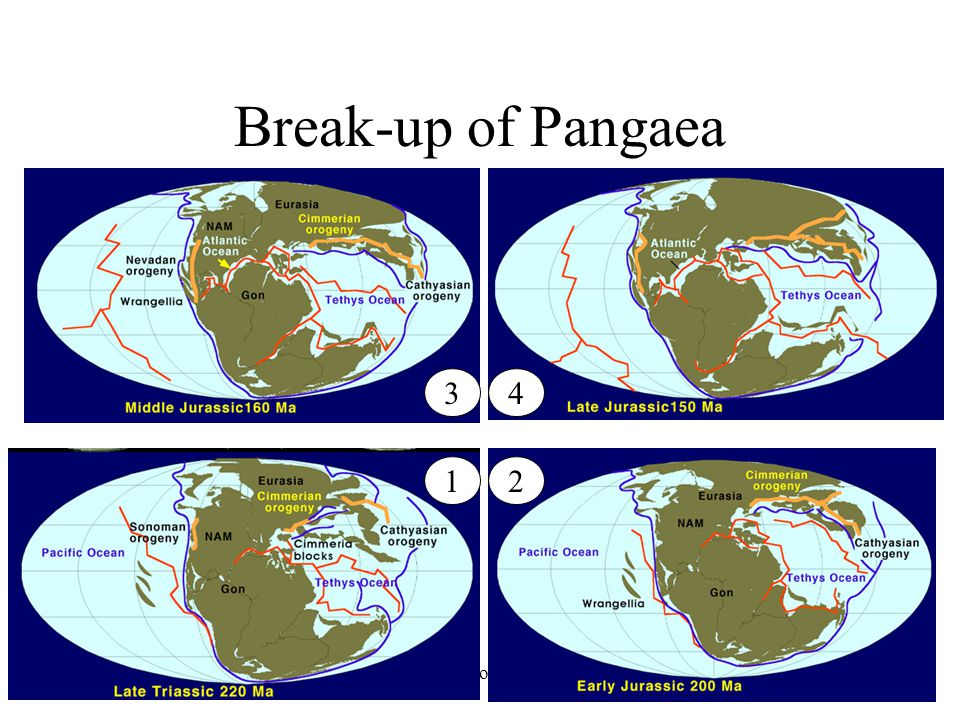 Break-up of Pangaea 3 4 1 2 Earth History, Ch. 16