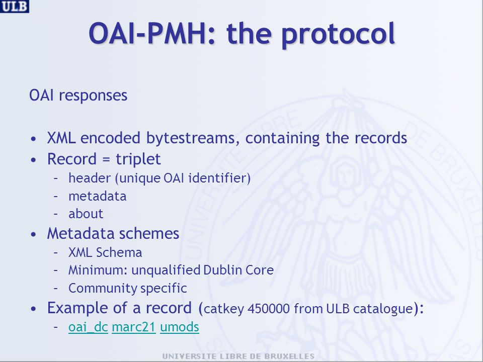OAI-PMH: the protocol OAI responses