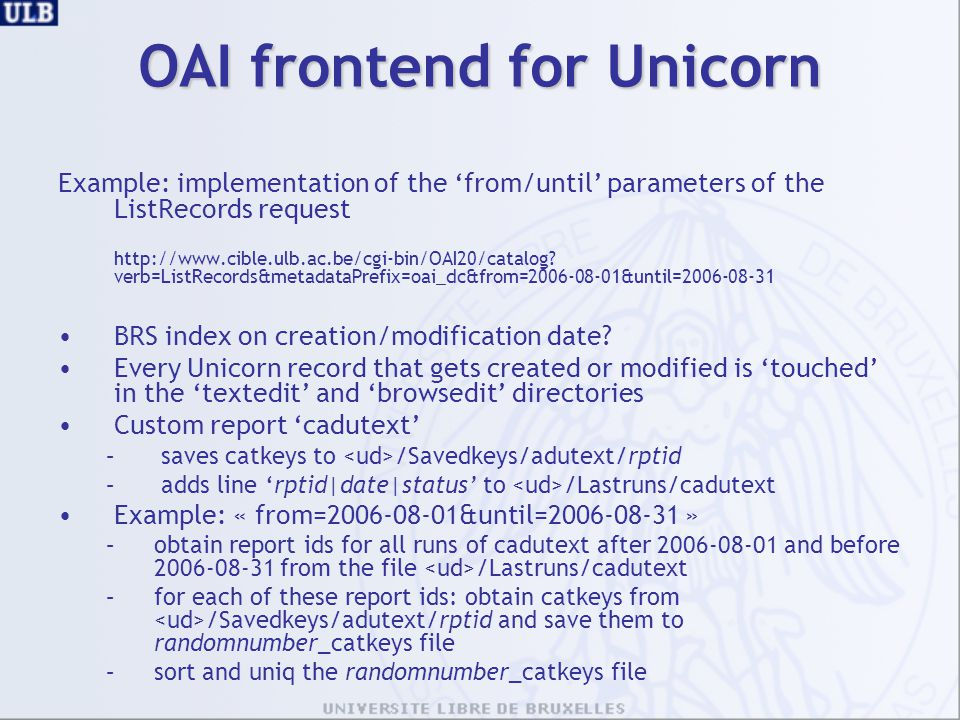 OAI frontend for Unicorn
