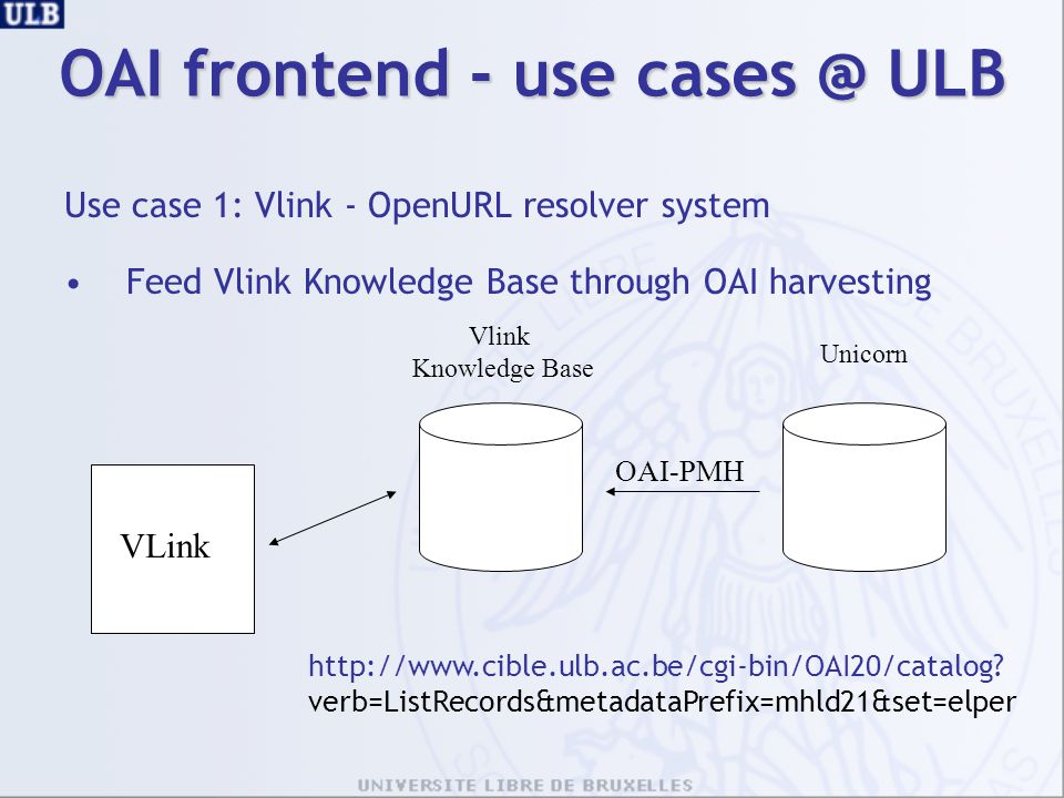 OAI frontend - use cases @ ULB