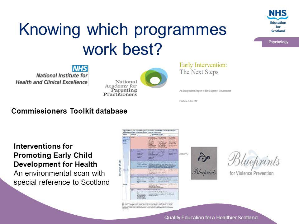 Knowing which programmes work best