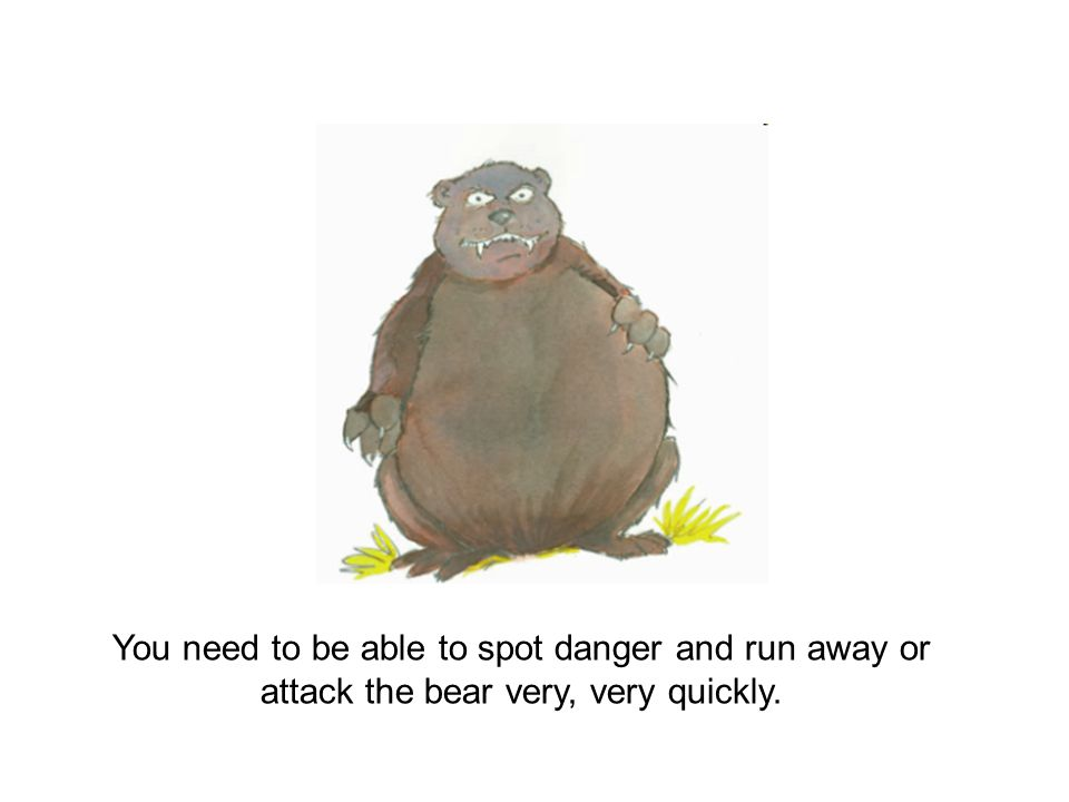 You need to be able to spot danger and run away or attack the bear very, very quickly.