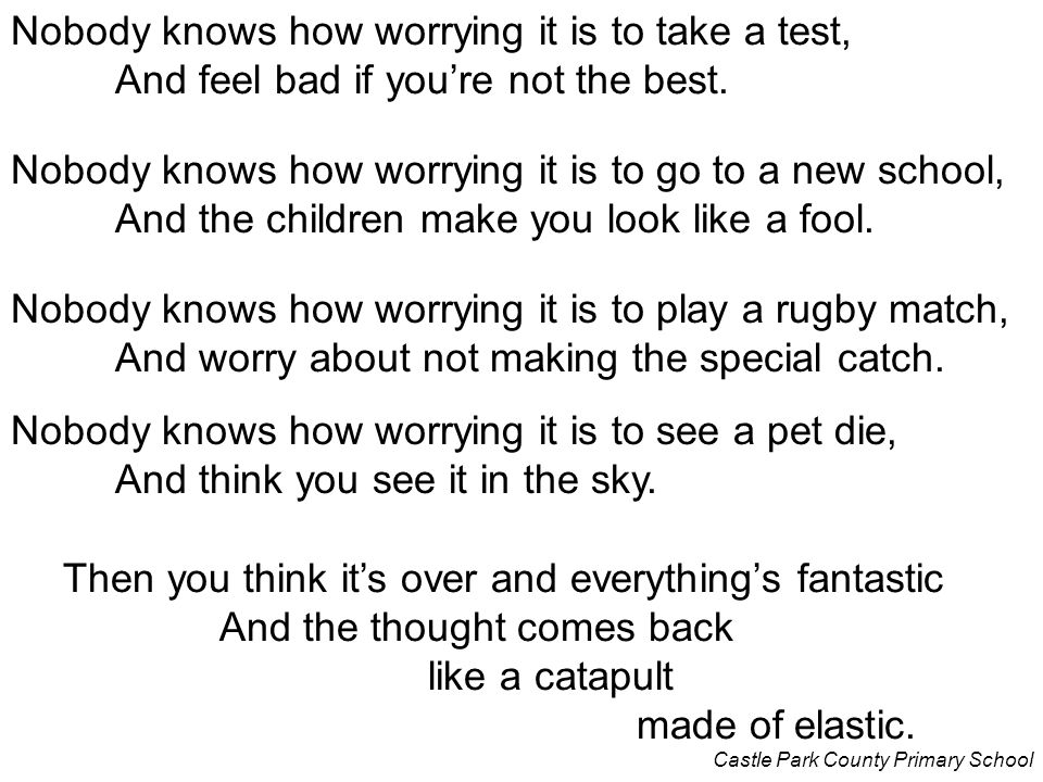 Nobody knows how worrying it is to take a test,