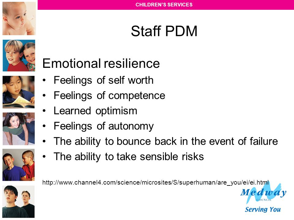 Staff PDM Emotional resilience Feelings of self worth