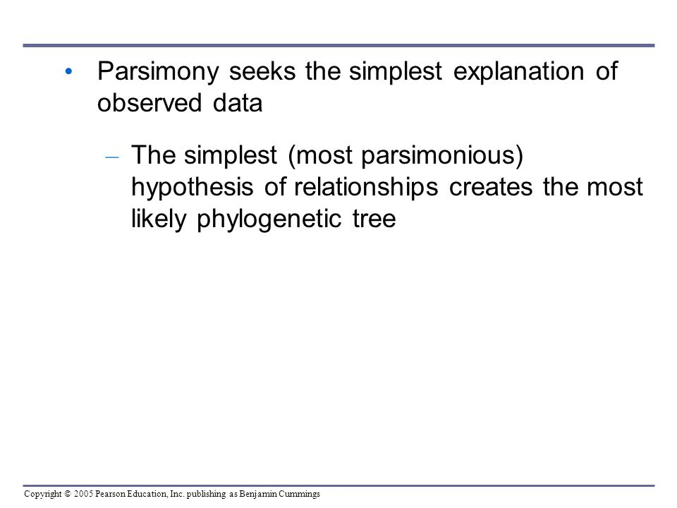 Parsimony seeks the simplest explanation of observed data