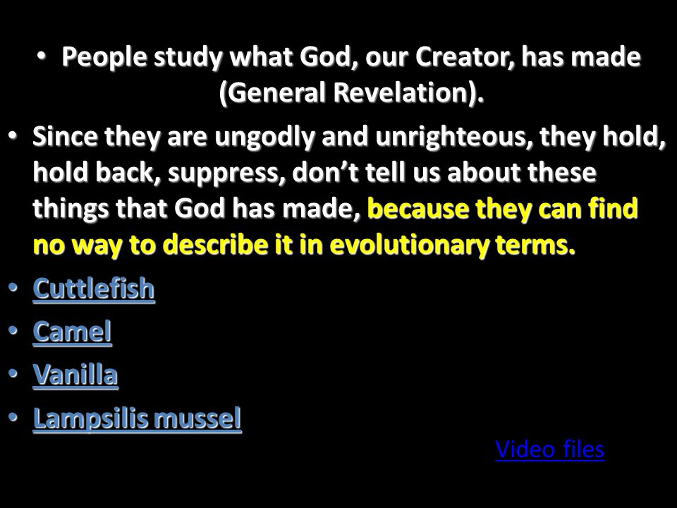 People study what God, our Creator, has made (General Revelation).