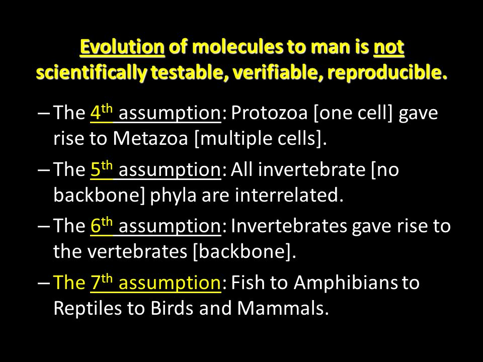Evolution of molecules to man is not scientifically testable, verifiable, reproducible.