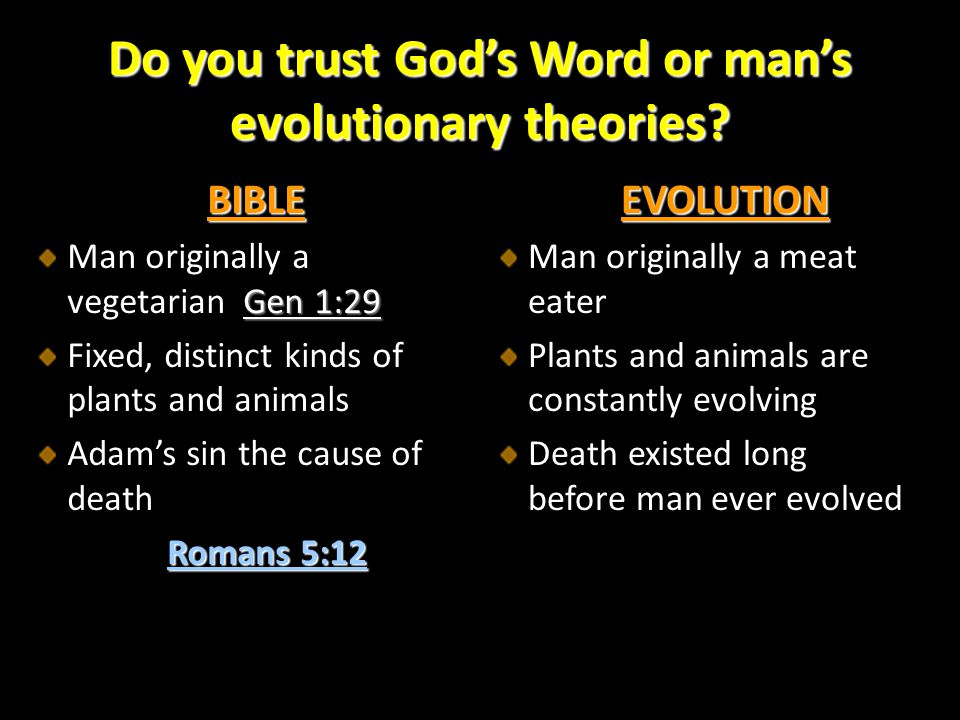 Do you trust God's Word or man's evolutionary theories
