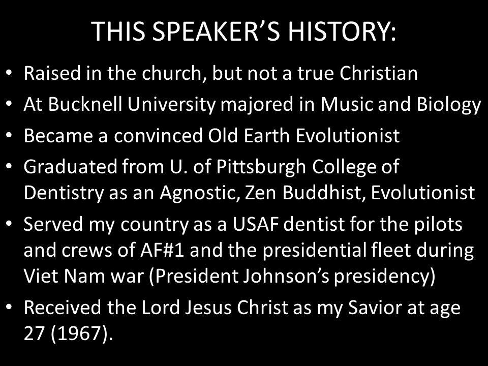 THIS SPEAKER'S HISTORY: