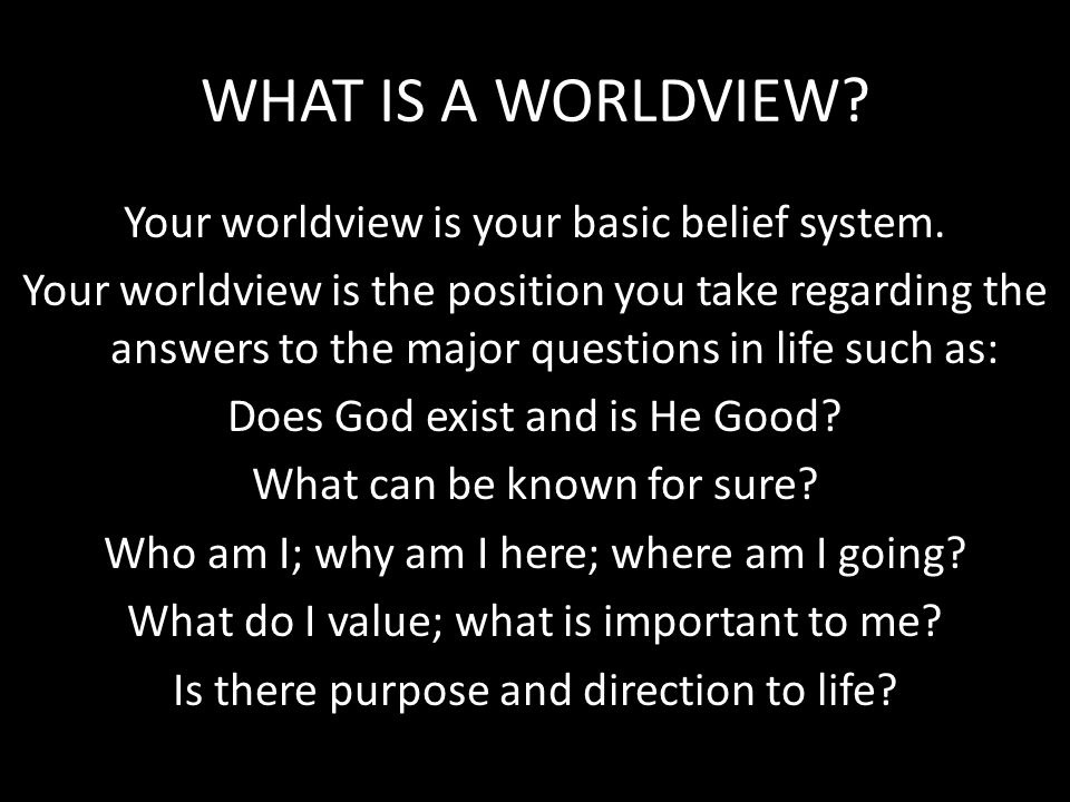 WHAT IS A WORLDVIEW Your worldview is your basic belief system.