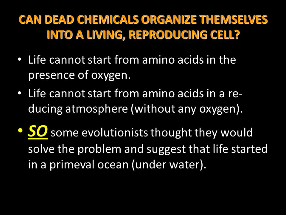 CAN DEAD CHEMICALS ORGANIZE THEMSELVES INTO A LIVING, REPRODUCING CELL