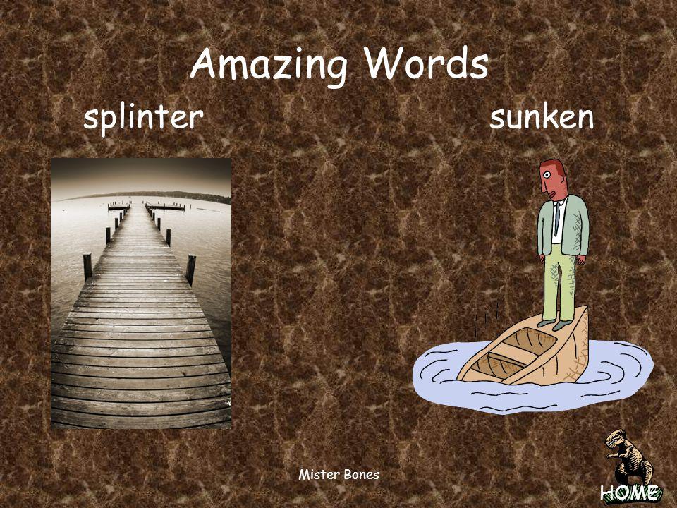 Amazing Words splinter sunken Mister Bones