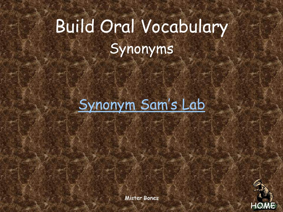 Build Oral Vocabulary Synonyms Synonym Sam's Lab Mister Bones