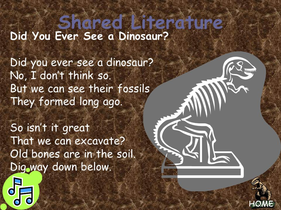 Shared Literature Did You Ever See a Dinosaur
